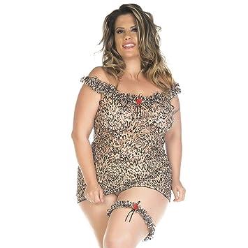 776c04d05 Camisola Sensual Plus Size Oncinha Chick Pimenta Sexy  Amazon.com.br ...