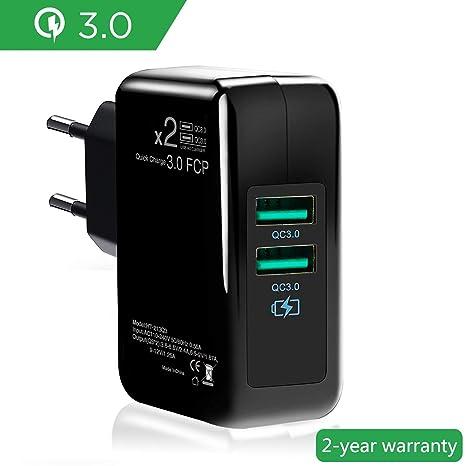 Double Quick Charge 3.0 Cargador de Red 30W Enchufe USB [Qualcomm Certificado] Rapido Cargador Móvil para LG G5, Nexus, HTC, iPhone XS/iPhone XS ...