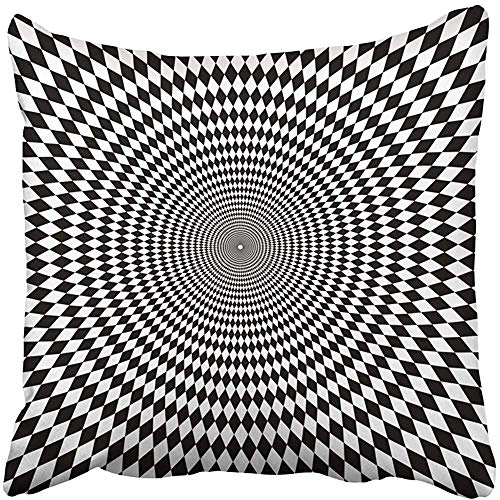 Staropor Throw Pillow Cover Polyester 18x18 Inch Psychedelic Optical Zoom Black White Chess Circle Mystery Chequered Floor Abstract Decorative Cushion Pillowcase Two Sides Print Deco Home -