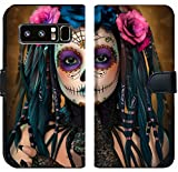 Luxlady Samsung Galaxy Note 8 Flip Fabric Wallet Case ID: 44522015 3D Computer Graphics of a Young Woman with Sugar Skull Makeup