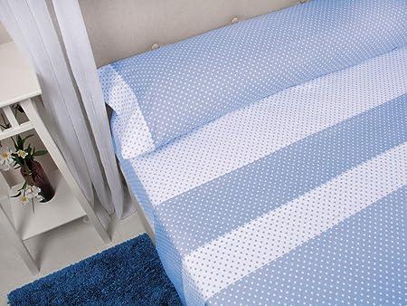 MB - Juego de Sábanas Franela Emilia Azul - 100% Algodón - Cama 105x190/200 cm - Sábanas de Invierno - Gramaje: 160 g/m2: Amazon.es: Hogar