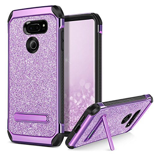BENTOBEN Phone Case for LG V30/LG V35 ThinQ/LG V30S ThinQ, Dual Layer Hybrid 2 In 1 Shockproof Protective Kickstand Case, Luxury Glitter Bling Sparkle Shiny Cell Phone Cases for Girls, Women - Purple