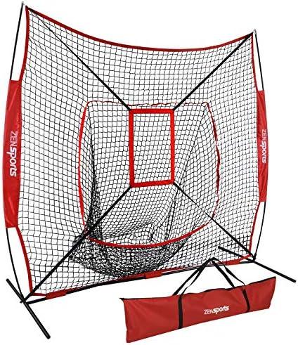 ZENY 7 7 Baseball Softball Practice Net w Strike Zone Hitting Batting Catching Pitching Training Net w Carry Bag Metal Bow Frame, Backstop Screen Equipment Training Aids