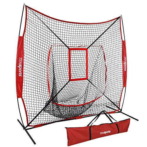 Portable Backstop Cage (ZENsports 7' x 7' Baseball Softball Practice Hitting Pitching Net with Strike Zone Target and Bow Net Frame & Carry Bag,Batting Pitching Softball Tee)