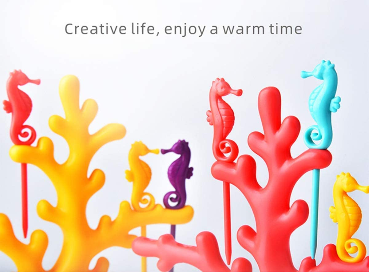 2 Colors Colorful Seahorse-shaped Fruit Forks with Decorative Coral-shaped Fork Holder
