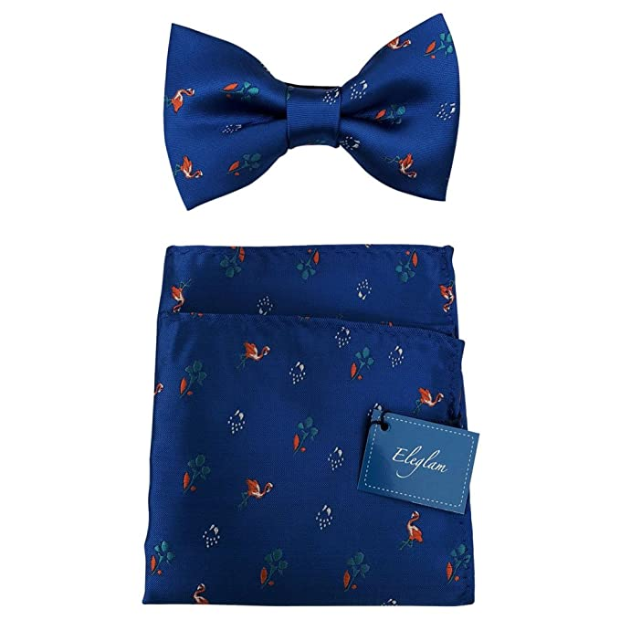 Conjunto Pañuelo y Pajarita seda azul hombre mini flamencos ...