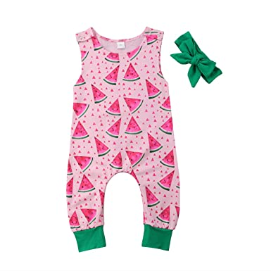 9b0075e35dd YAZAD Newborn Infant Toddler Baby Girl Jumpsuit Watermelon Pattern Romper  Sleeveless Bodysuit Playsuit + Headband (