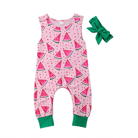 78a679882 Binwwede Newborn Baby Girl Clothes Sleeveless Watermelon Print Romper  Bodysuit with Bow Headband Toddler Infant 2pcs