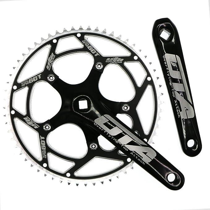Single Speed Crankset Set 60T 170mm Crankarms 130 BCD CYSKY Fixie Crankset for Single Speed Bike, Fixed Gear Bicycle, Track Road Bike (Square Taper, Black)