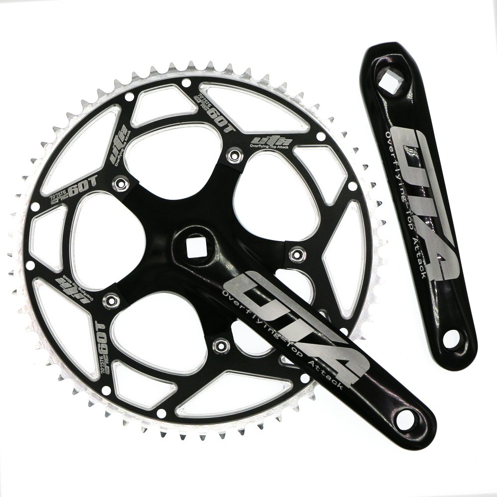 Single Speed Crankset Set 60T 170mm Crankarms 130 BCD CYSKY Fixie Crankset for Single Speed Bike, Fixed Gear Bicycle, Track Road Bike (Square Taper, Black)