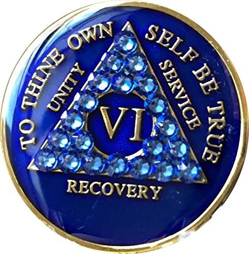 Sapphire Mint - 6 Year AA Medallion Sapphire Blue Crystal Tri-Plate Chip VI