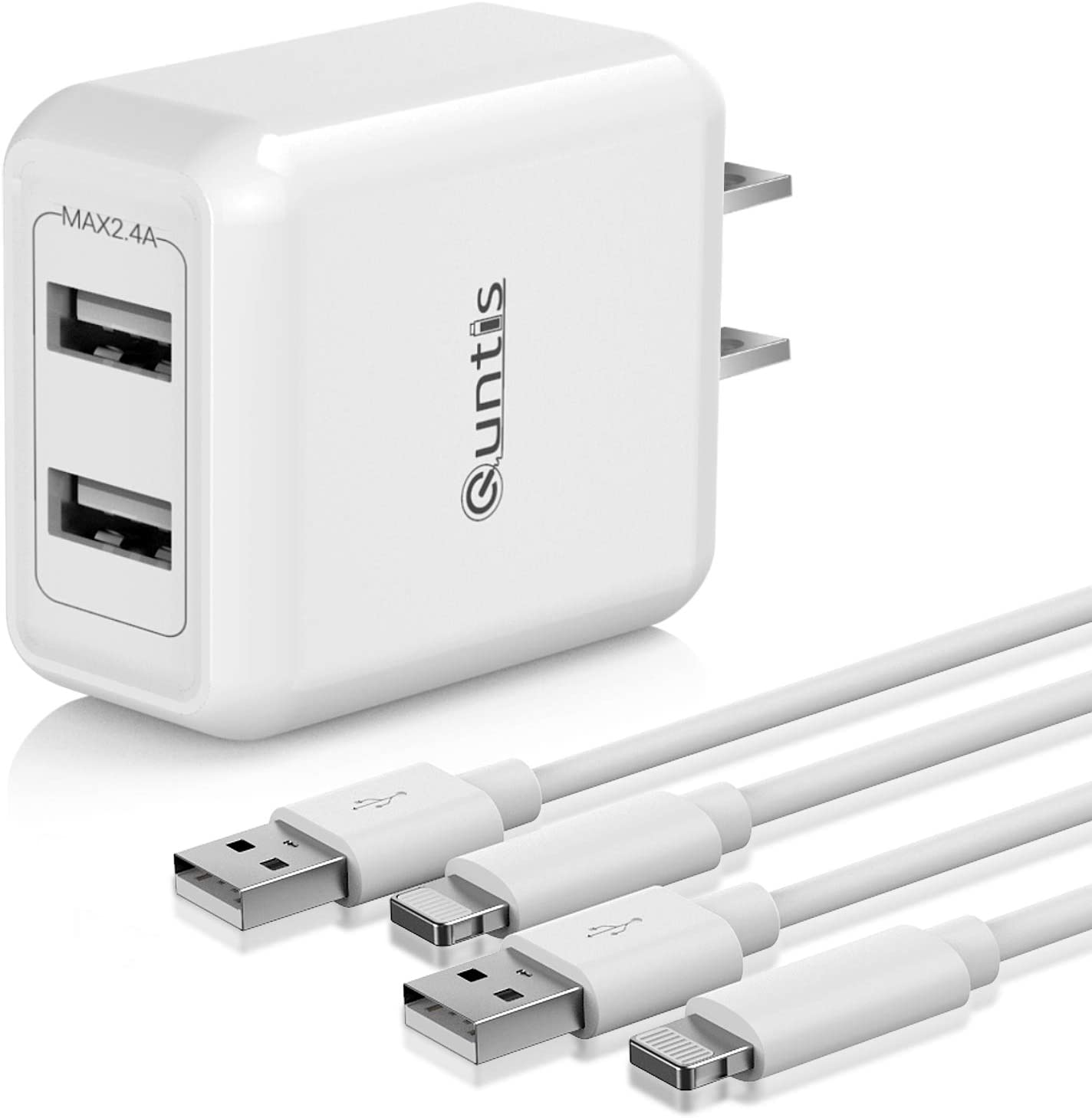 iPhone Charger MFi Certified, Quntis 2Pack 6.6ft Lightning Charging Cable Cord with Dual Port USB Wall Charger Block Adapter for iPhone 12 SE 11 Pro Max XS XR X 8 7 6s 6 Plus iPad Pro iPod Airpods