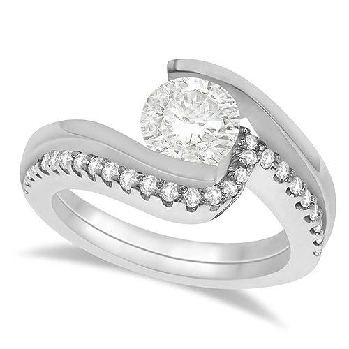 Tensión Set Diamond Anillo de compromiso y banda nupcial conjunto 14 K oro blanco piedra de