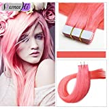 "Remeehi 100% Real Human Hair Tape in Extensions 20"" Multi Colors Silk Straight Skin Weft Tape in Hair Extensions 4pcs Grey"