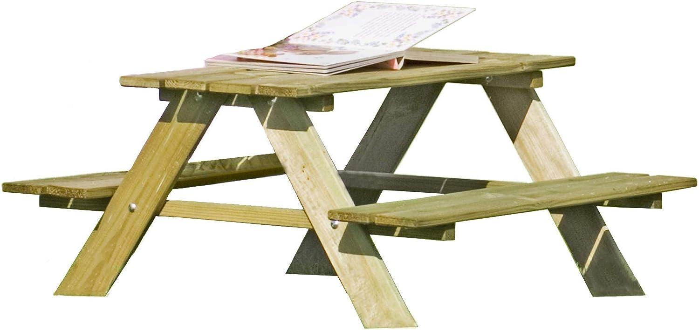 Gartenpirat Mesa de Picnic Infantil con Bancos fijos 90x90x50 cm (Global)