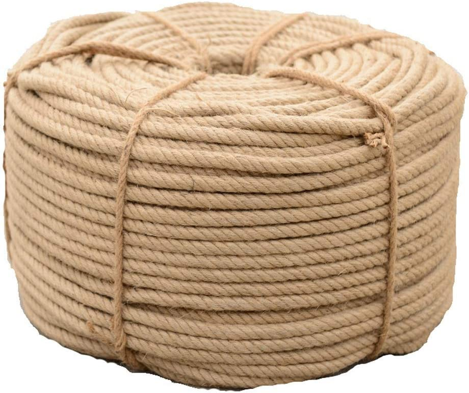 GCM Hemp1 Hemp Rope 26mm Twisted Rope Arts Crafts DIY Decoration Jute Rope Natural Jute Twine Hemp Rope 1 Inch Diameter Twine Burlap Rope Swing Rope hanging shelves Rope Size : 26MM x 10Meters