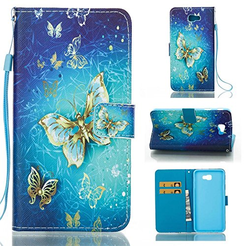 Galaxy J7 Prime Case,[Flip Wallet Case] PU Leather Stand Protector Shell Cover Case for Samsung J7 Prime 2016,Gold Butterfly