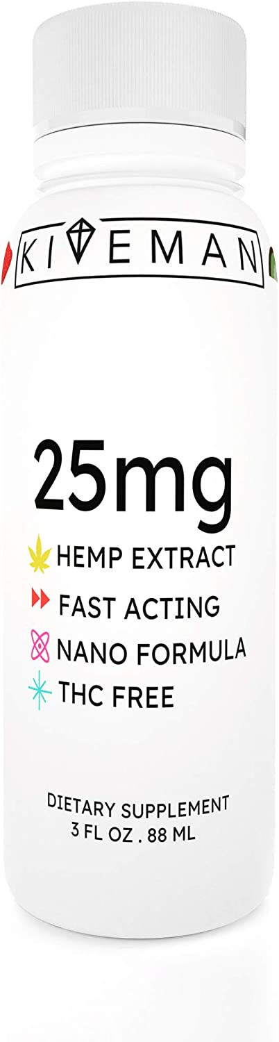 Nano Hemp Shot 25mg   Fortified with Vitamins and Minerals   Ready to Drink 3.00 OZ (88ml) Beverage (Strawberry Kiwi Bliss, Single)