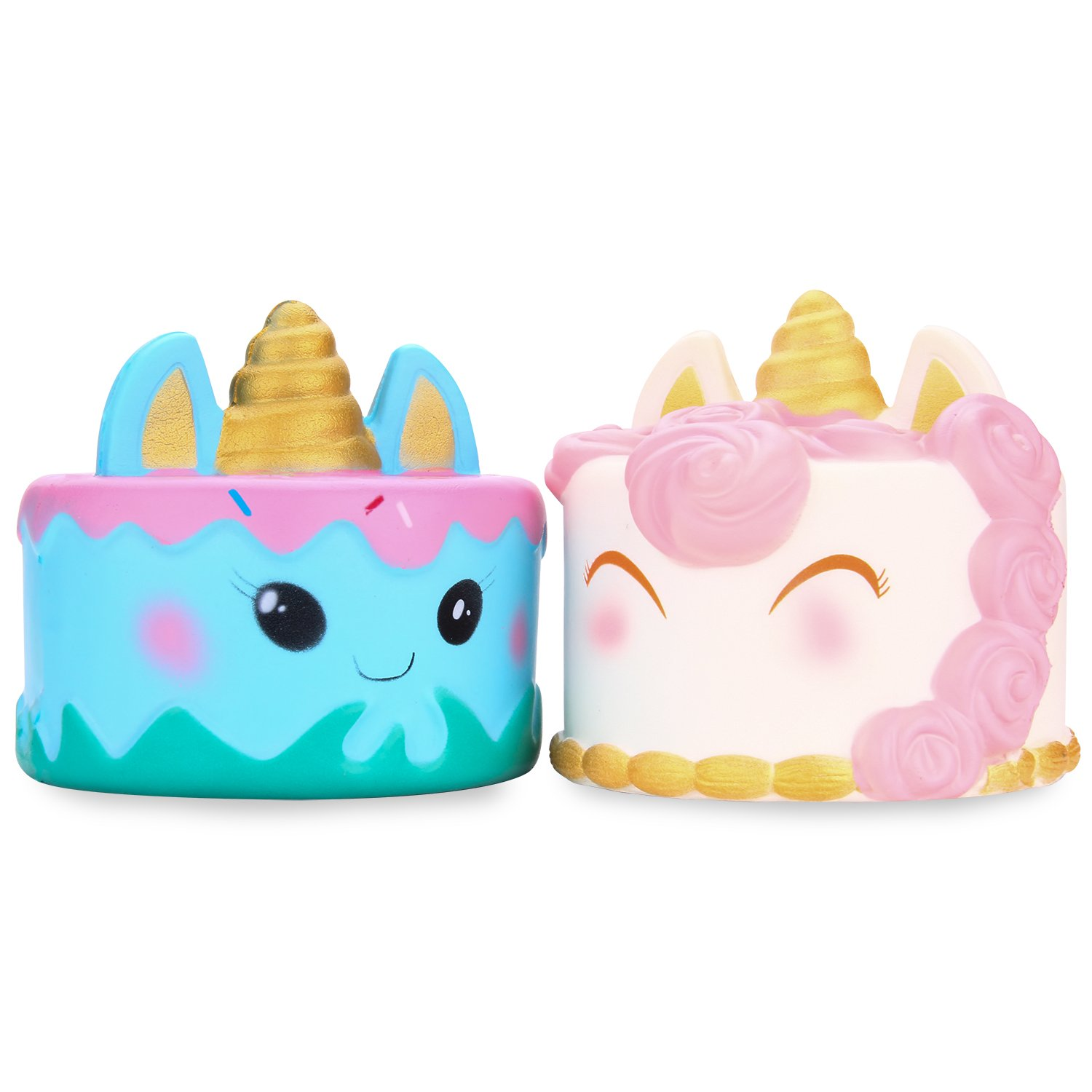 WATINC Kawaii Jumbo 2p Unicorn Cake Set Squishy Slow Rising Sweet Scented Vent Charms Kid Toy Hand Toy, Stress Relief Toy, Decorative Props Doll Gift Fun Large(2p Unicorn Cake)