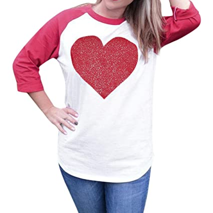 82226f9c298f SUKEQ Happy Valentine Day, Stylish Women Red Love Heart Printed Long Sleeve  Blouse Round Neck Loose Tunic Patchwork Tops Shirt Valentine Gift for Female