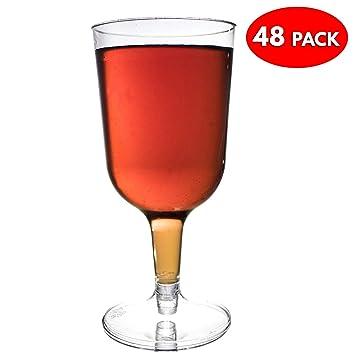 48 Copas Transparentes de Vino Desechables - Vaso Ideal para Fiestas ...