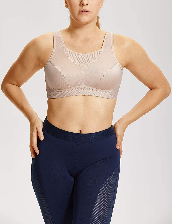 c6d402819e4 SYROKAN Women s High Impact Sports Bra Plus Size Full Figure Bounce Control  Wireless Non Padded Workout Bra at Amazon Women s Clothing store