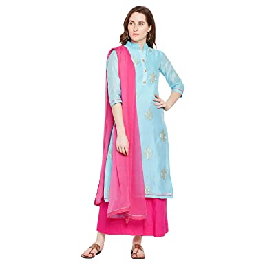 27c5a2b64d Image Unavailable. Image not available for. Color: PinkShink Women's  Readymade Blue and Pink Chanderi Silk Embroidered Indian/Pakistani Salwar  ...