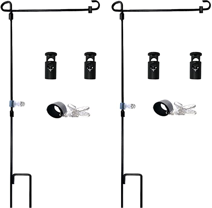 """Garden Flag Stand-Holder-Pole with Garden Flag Stopper and Anti-Wind Clip 36.3""""H x 16.5""""W For USA Flag Or Season Garden Flags Keep Your Flags from Flying Away in High Winds(2 Pack)"""