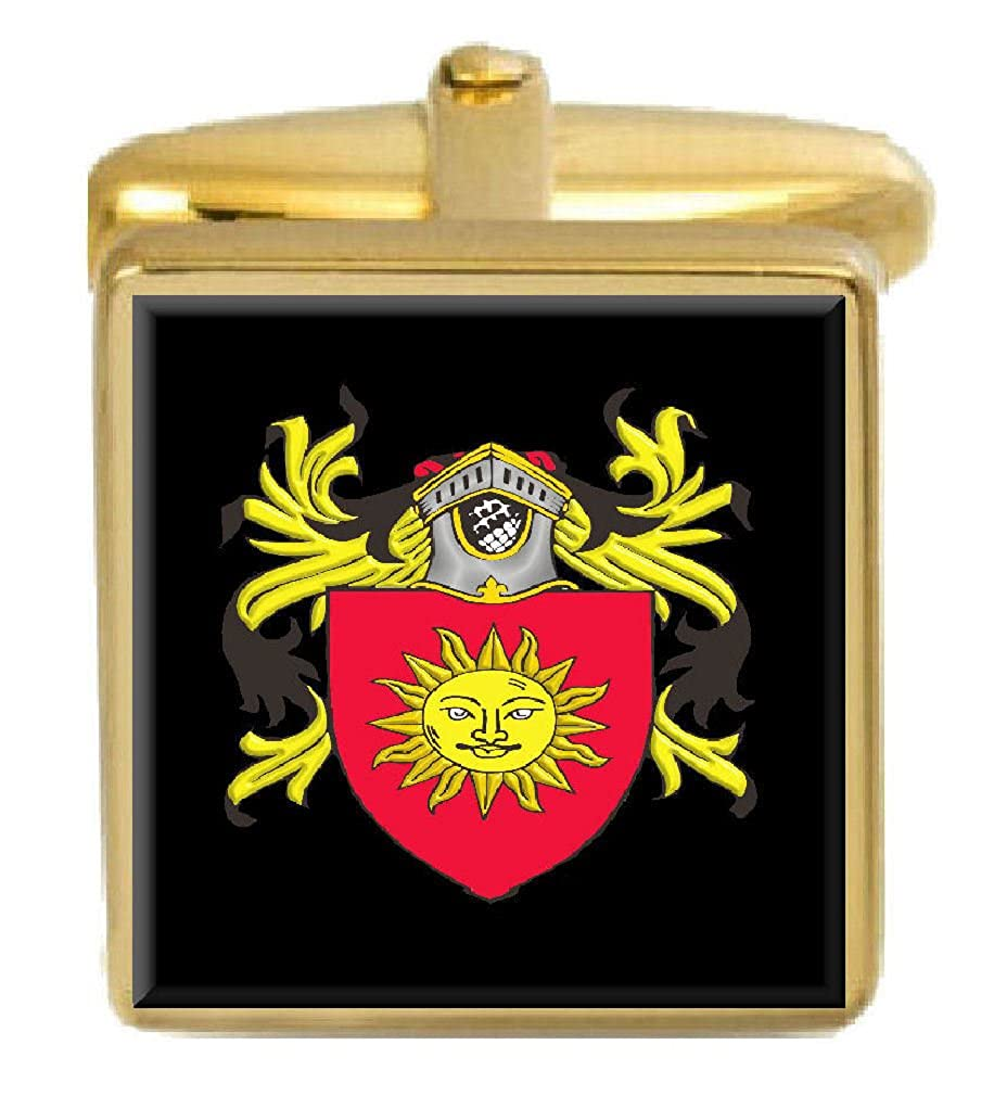 Select Gifts Hirst England Family Crest Surname Coat Of Arms Gold Cufflinks Engraved Box
