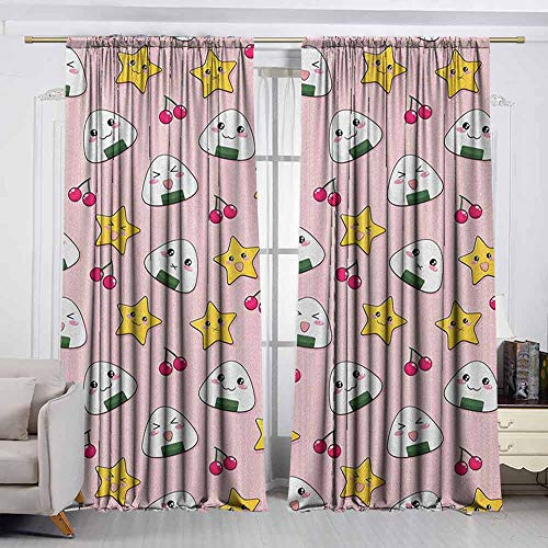 - VIVIDX Waterproof Window Curtain,Anime,Happy Crying Cute Cartoon Rice Balls Cherries Stars Pattern on Stripes Art,Darkening and Thermal Insulating Draperies,W72x72L Inches Pink Yellow and White