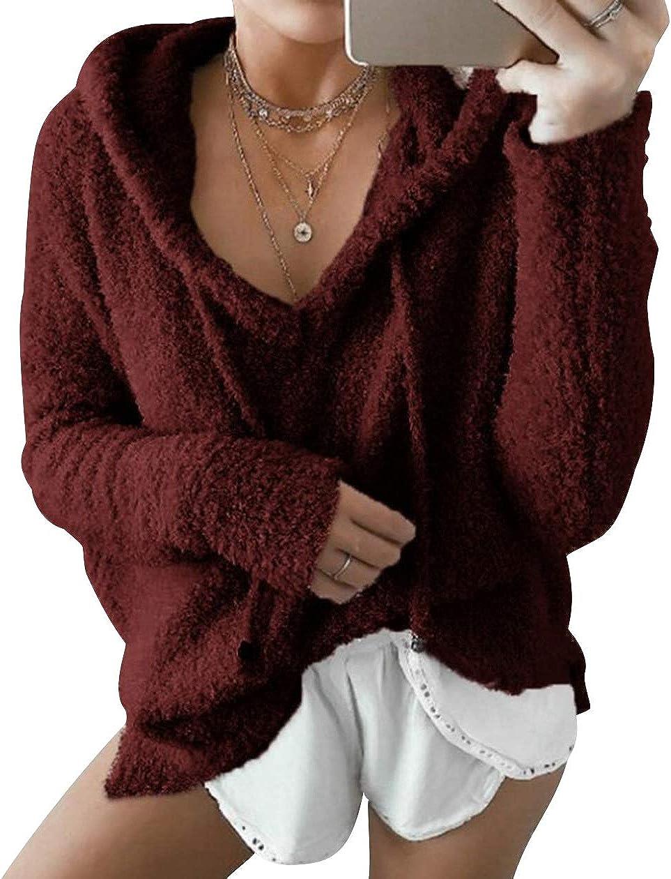 ISSHE Kapuzenpullover Damen Teddy Fleece Pullover V Ausschnitt Hoodie Pulli Sweatshirt Fleecepullover Oversized Hoodies f/ür Damen Pullis Langarm Warme Frauen Fleecemantel Sweater Damenpulli Warm