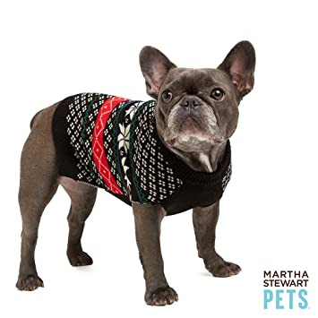 Amazon.com : Martha Stewart Pets Holiday Fair Isle Dog Sweater ...