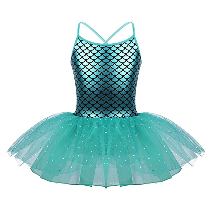 iiniim Maillot de Ballet Niña Tutú Vestido Brillo Fiesta Traje de Baile Leotardo con Falda Malla Brillante Gimnasia Disfraz Sirena Princesa Bailarina ...