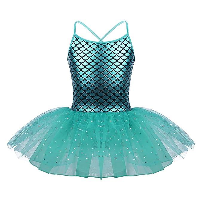 d6e3c1f70 IEFIEL Vestido Danza Ballet Maillot Niña Tutu Vestido de Princesa Falda  Bailarina Disfraz de Sirena para Niña 3-10 Años  Amazon.es  Ropa y  accesorios