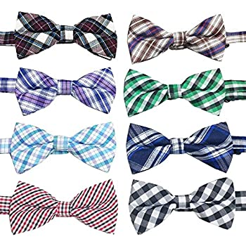 e2d3c311a693 PET SHOW Plaid Dog Bow Ties Adjustable Collar Bowties for Small Dogs Puppy  Cats Party Pet Collar Neckties Grooming Accessories Pack of 8