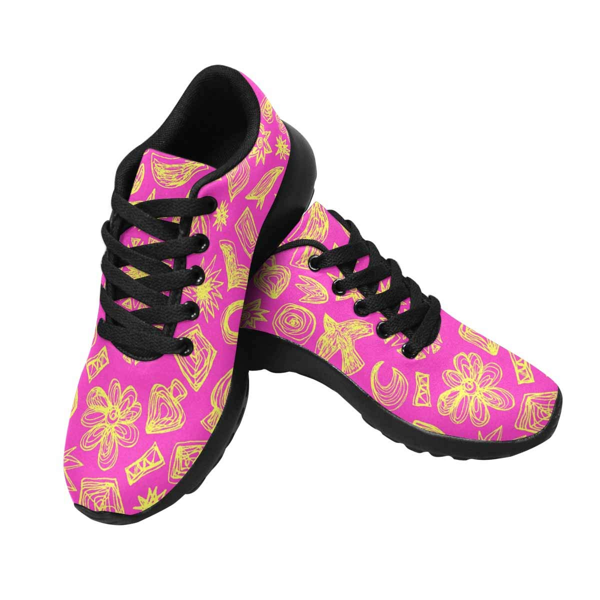 INTERESTPRINT Womens Running Shoes Pink Doodle Pattern Print Outdoor Sneakers