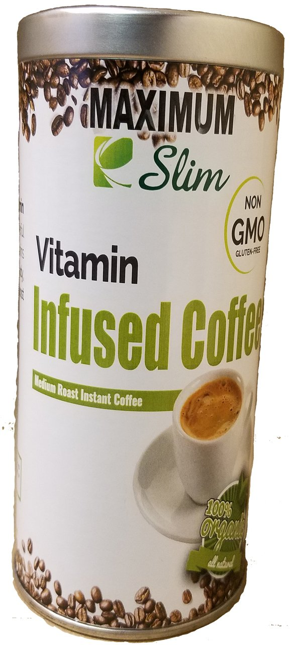 Be Healthier with Vitamin Infused Coffee. Infused With Essential Vitamins A, B1, B2, B3, B5, B6, B9, B12, C, D3, Biotin. by Maximum Slim