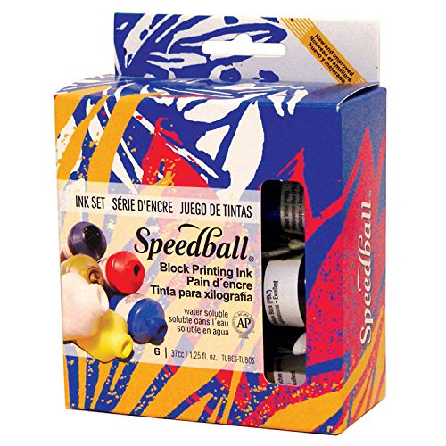 Speedball Water-Soluble Block Printing Ink Starter Set – 6 Bold Colors With Satiny Finish - 1.25 FL OZ Tubes by Speedball