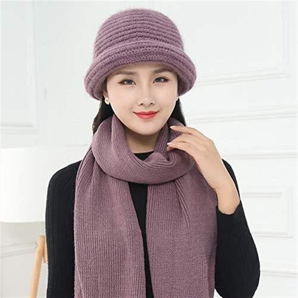 Yiruculture Women's Wool Bucket Hat Middle Aged Winter Warm Elegant Knit Cap (Color : Light Purple, Size : M)
