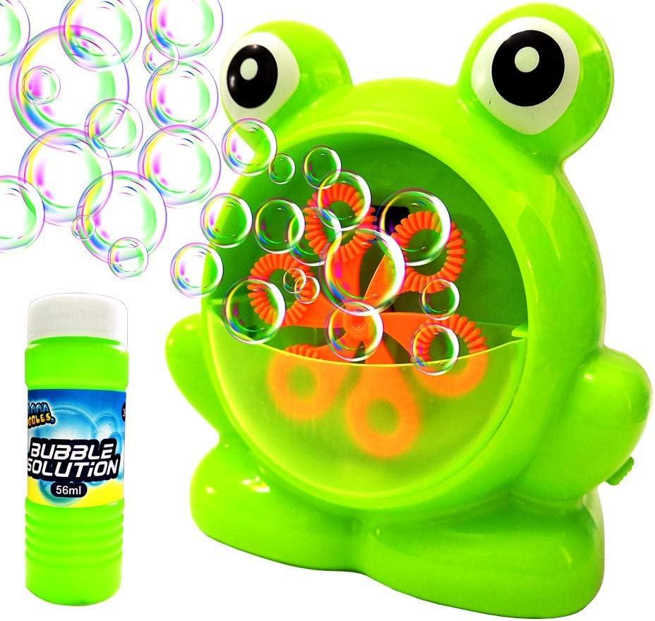 AppleRound バブルマシン 自動耐久性バブルブロワー 予備のバブルソリューション1つ付き ポータブルバブルメーカー おもちゃギフト 子供の誕生日パーティーに 電池式 (別売り)