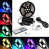LED Light Strip Kit,Waterproof RGB LED Strip,Starlotus 300 LEDs SMD 5050 RGB LED Flexible Strip,16.4Ft/5M with 44Key Remote Controller+IR Remote Controller, 12 Volt 5 A Power Supply For Decorative