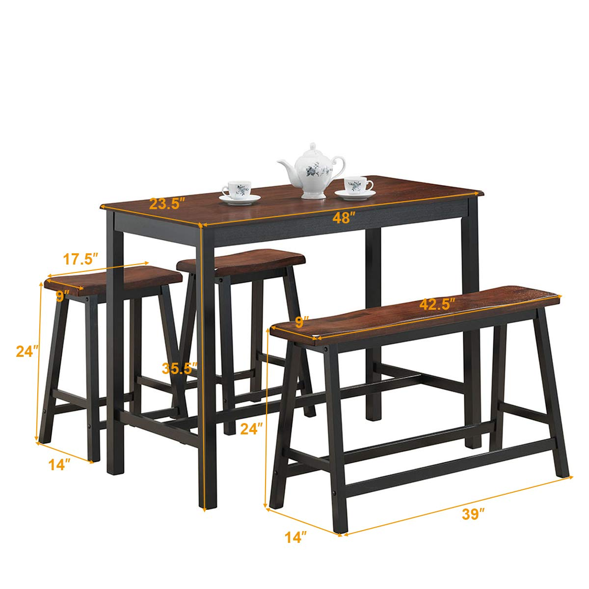 Costway 4pc counter height table set simple dining set modern style with one height bench and two saddle stools solid wood with foot pads home kitchen