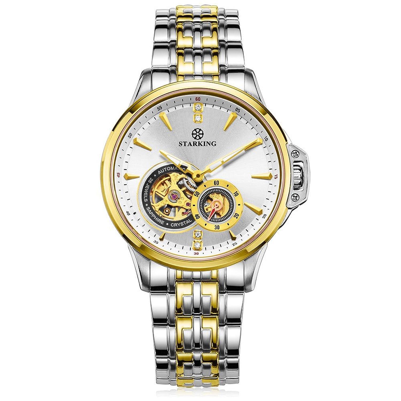 Starking Herren am0217gs81 Bicolour Skelett Automatische Business Armbanduhr mit Edelstahl Link Armband