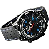 Trenton Men's Racer Military Pilot Aviator Army Style Silicone Sport Wrist Watch