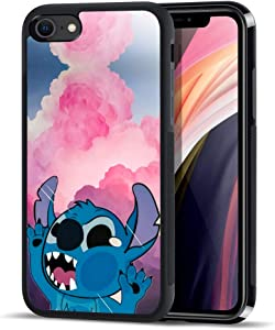 DISNEY COLLECTION iPhone SE 2020/8/7 Case Stitch Cartoon Cute Roles Pattern Black Side Tire Texture Non-Slip Design Shockproof Protective Cover for Apple iPhone SE(2020) 4.7 Inch