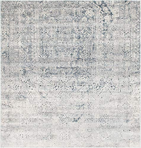 Unique Loom Chateau Collection Distressed Vintage Traditional Textured Gray Square Rug (7' x 7') (Square Rug Gray)