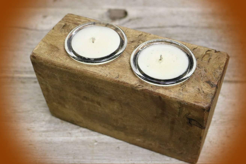 4 Hole Wooden Sugar Mold Wood Candle Holder Primitive