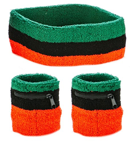 (Funny Guy Mugs Unisex Sweatband Set (3-Pack: 2 Wristbands with Zipper/Wrist Wallet & 1 Headband),)