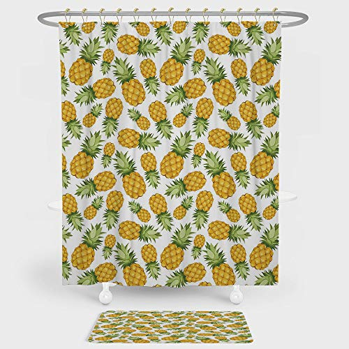 IPrint Yellow White Shower Curtain Floor Mat Combination Set Pineapples Tropical Climate Fruits Sweet Ripe Juicy
