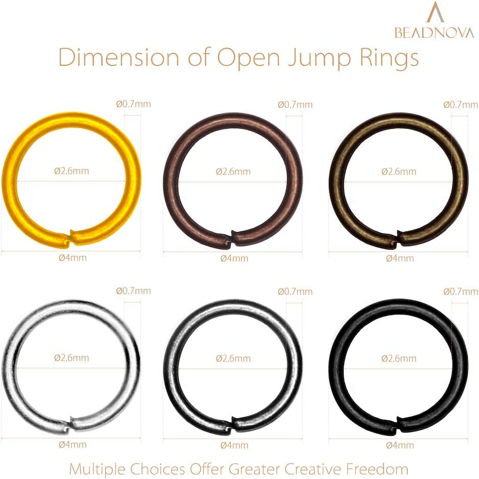 BEADNOVA 6mm Open Jump Ring Assorted Colors Jewelry Making Jump Ring Metal Open Ring 900Pcs